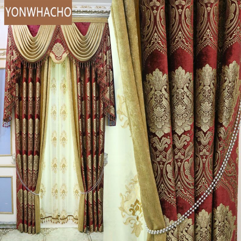 Custom curtains villa living room high-end gold Jacquard thick chenille red cloth blackout curtain valance tulle panel B563