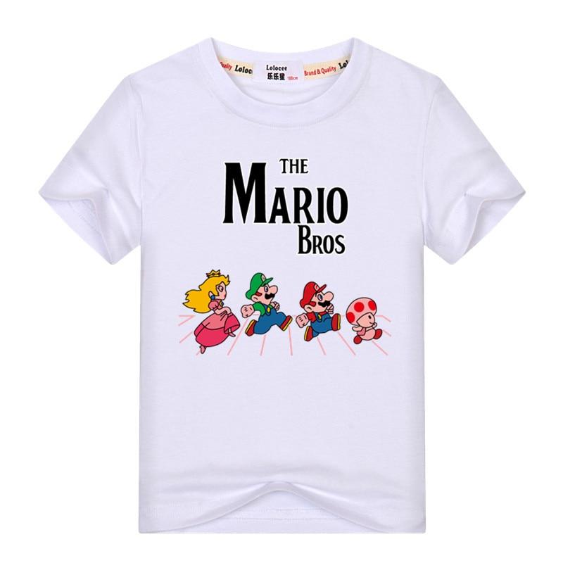 2021 Mario Cartoon Game T-shirt Kids Hip Hop Short Sleeve TShirts Boys Girls Super Mario Tee Shirts Casual Basic Tops 3-13y 6