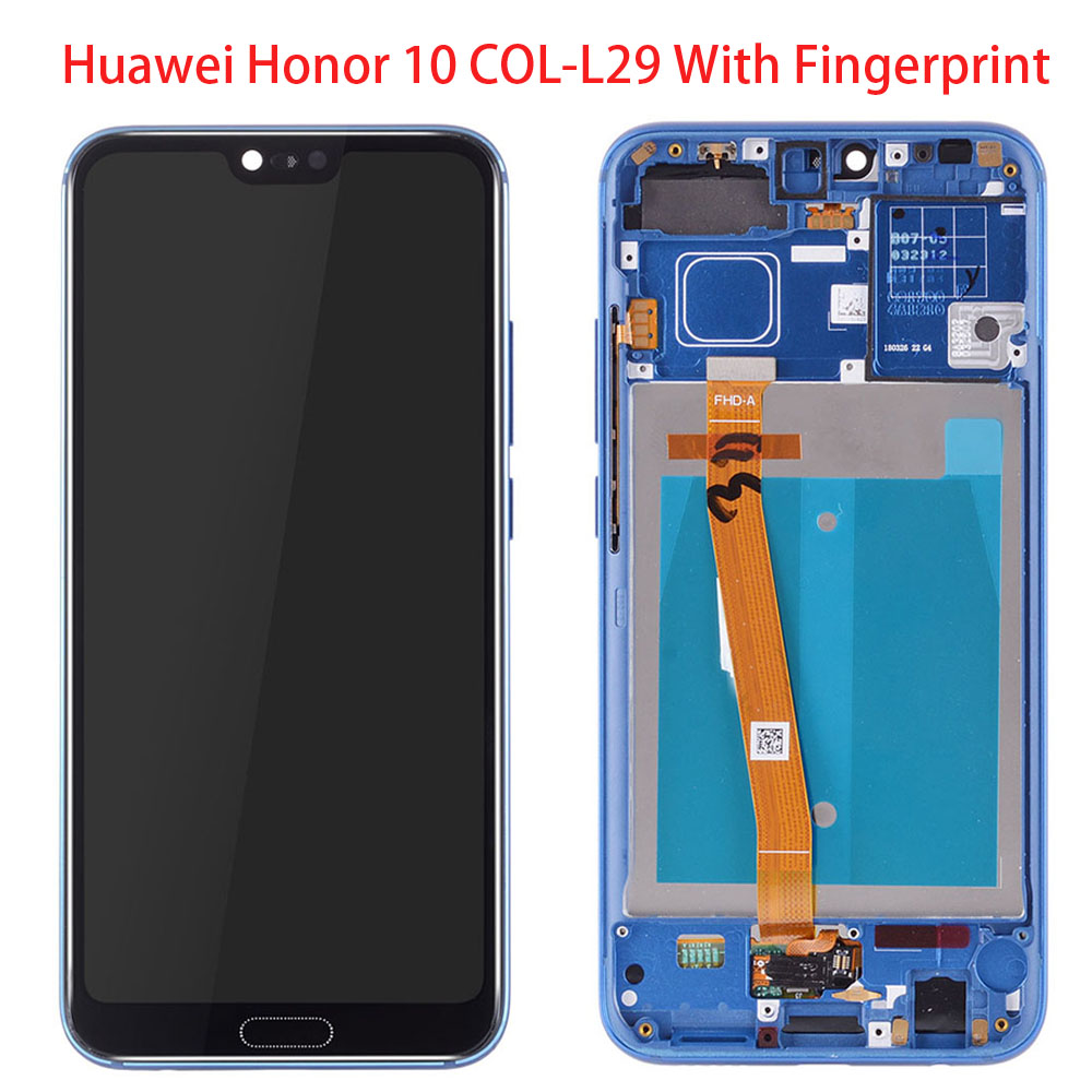 Fingerprint With Frame LCD For Huawei Honor 10 COL-L29 LCD For Huawei Honor 10  Display + Touch Screen Assembly