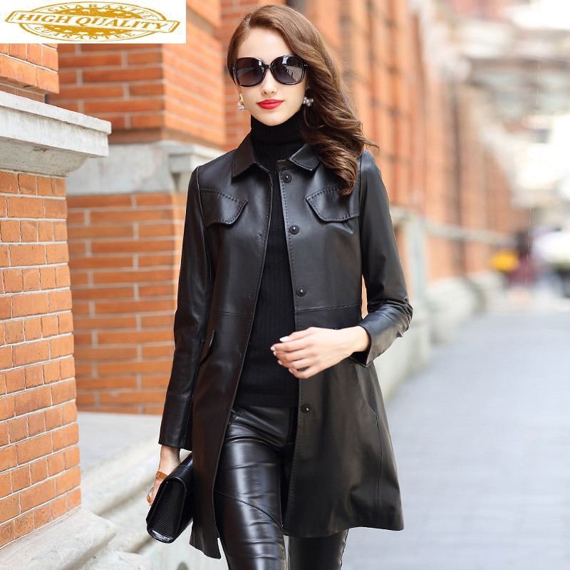 Real Leather Jacket Women Clothes 2020 Spring Autumn Sheepskin Trench Coat Female Vintage Biker Jackets Chaqueta Mujer MY2494
