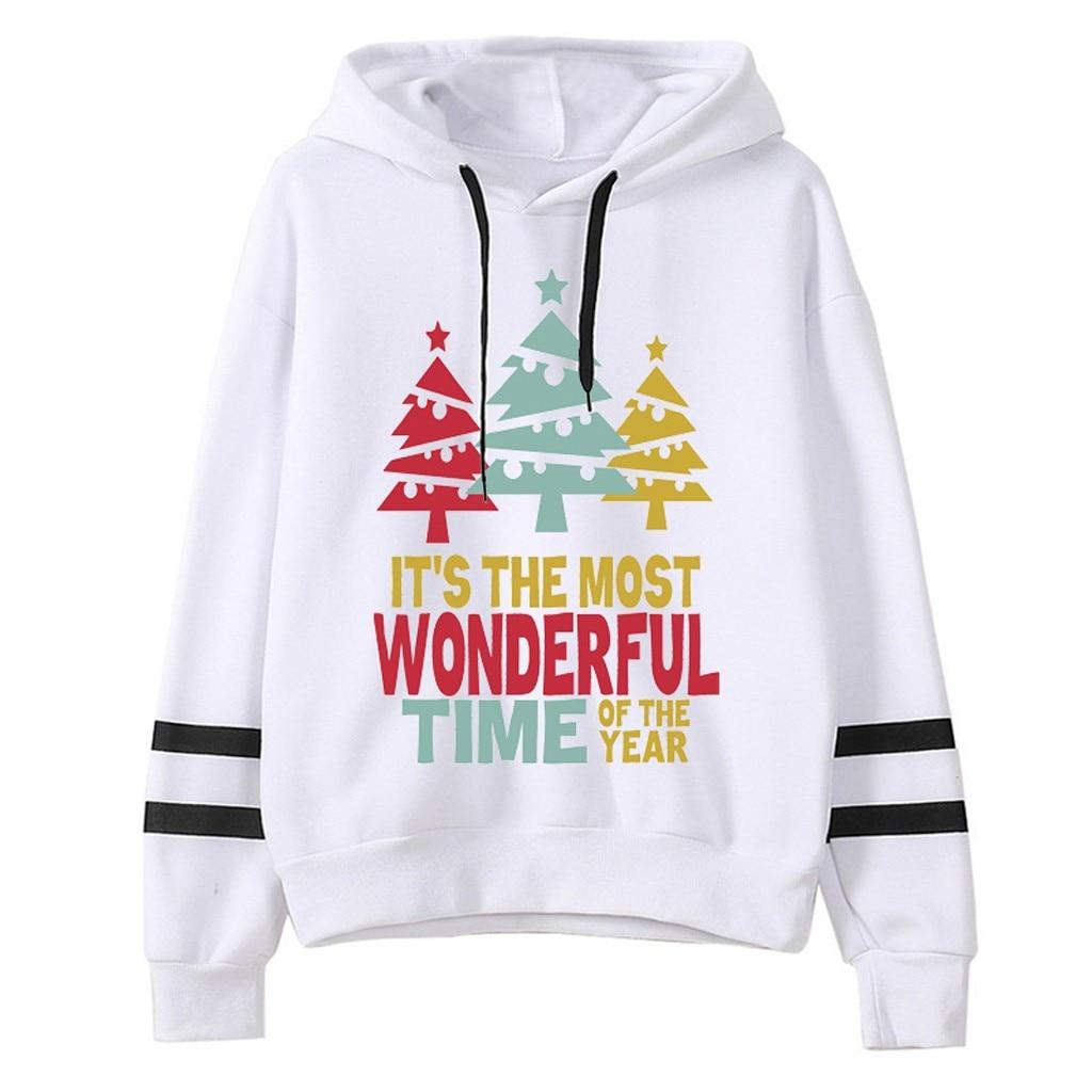 2020 Womail Sweatshirts Women's Harajuku Christmas  Hooded autumn winter Loose Printed Pullover sudadera Mujer Womens Sweatshirt