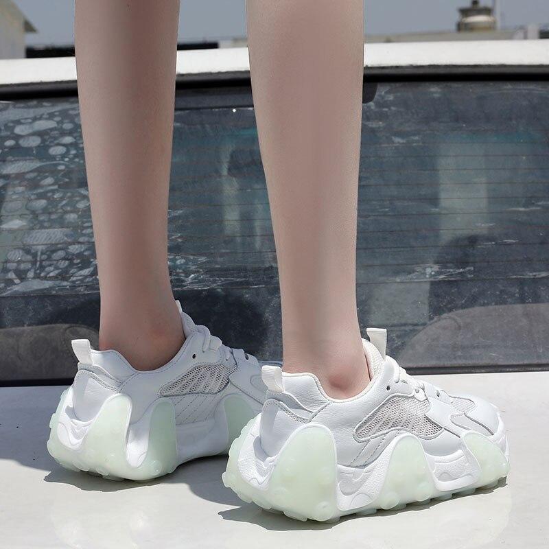 genuel couro malha casual moda grosso-sola esportes branco único tênis