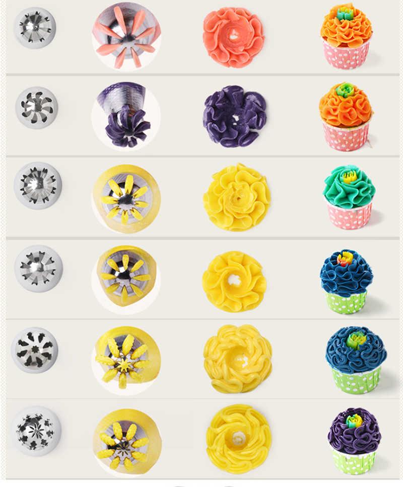 TULIP Pastry หัวฉีดชุดสำหรับครีมสแตนเลสรัสเซียศิลปะ Icing Piping Tips เค้กตกแต่งขนมเครื่องมือ