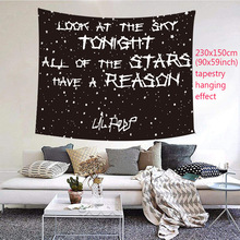 Tapestry Cloth Background Wall-Carpet Home-Decor Moon Black Tapiz Ceiling Letter 95x73cm