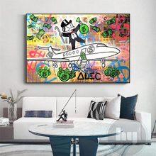 Nadal Monopoly-cartel de Graffiti para decoración del hogar, cuadro de aeronave, arte de pared, dinero moderno, dólar de la sala de estar, cuadro Modular
