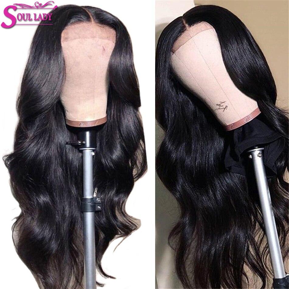 SoulLady 13x6 corps vague dentelle avant cheveux humains perruques blanchir nœuds pour les femmes noires 150% densité pré plumé Remy malaisien cheveux perruques