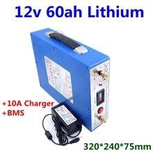 Перезаряжаемые 12V 60Ah литиево-ионный аккумулятор 12v 60ah с BMS 3S для ноутбука power bank инвертор пусковое устройство+ 10A Зарядное устройство