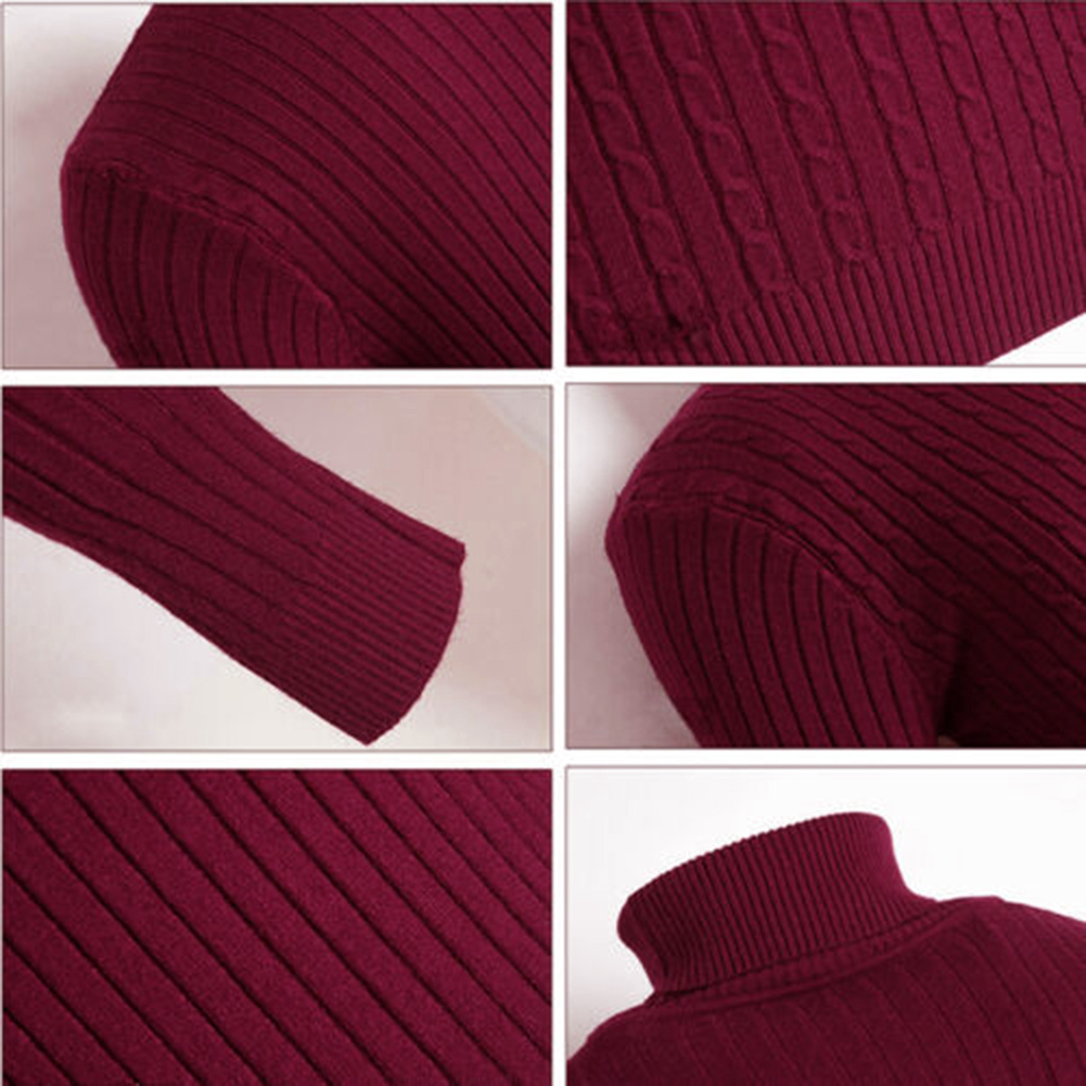Casual Men Winter Solid Color Turtle Neck Long Sleeve Twist Knitted Slim Sweater Men's Knitted Sweaters Pullover Men Knitwear 5