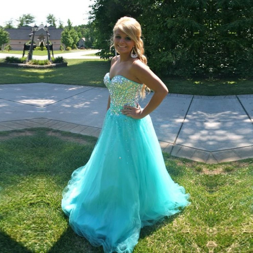 Vestidos De Baile Elegant Sparkly Crystal Beaded Crystal 2018 Fashion Girl Blue Graduation Prom Gown Mother Of The Bride Dresses
