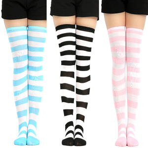Girls Stripe New Socks Fashion Stockings Casual Thigh High Over Knee Acrylic Colour Comic High Socks Female Long Knee Sock 001