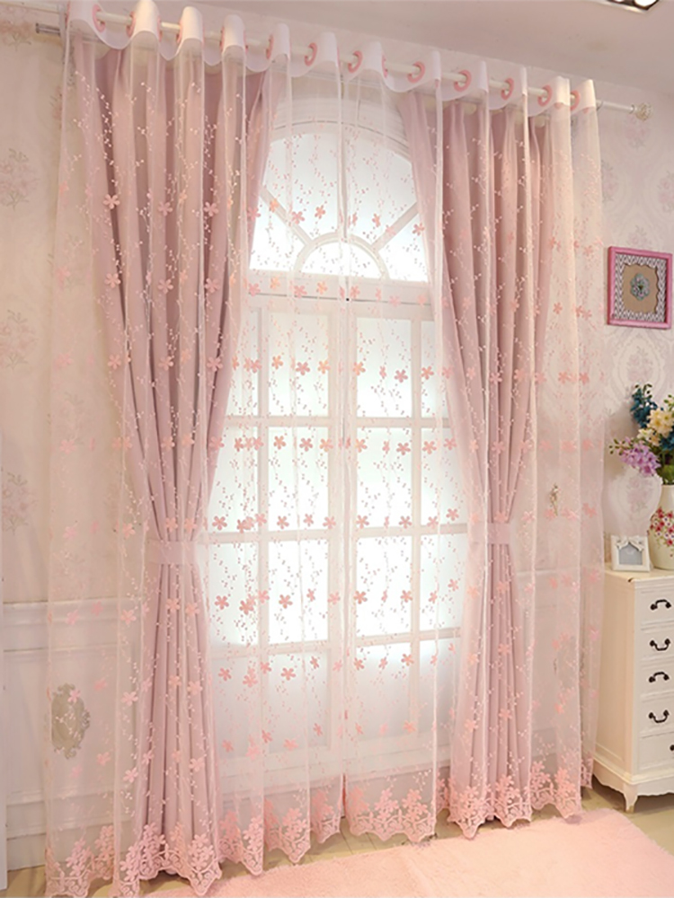 Curtains Romantic Living-Room American-Style Girls High-Shading Kids Princess European