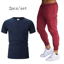 Running Sets Men Sport Suits 2019 autumn marathon Sportswear Set gym Fitness Training t shirt+pants Tracksuit Jogging Suit