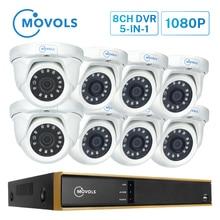 MOVOLS cámara de seguridad domo con visión nocturna para el hogar, sistema de videovigilancia P2P impermeable para exteriores, 2MP, Kit CCTV, 8CH, DVR, 8 Uds.