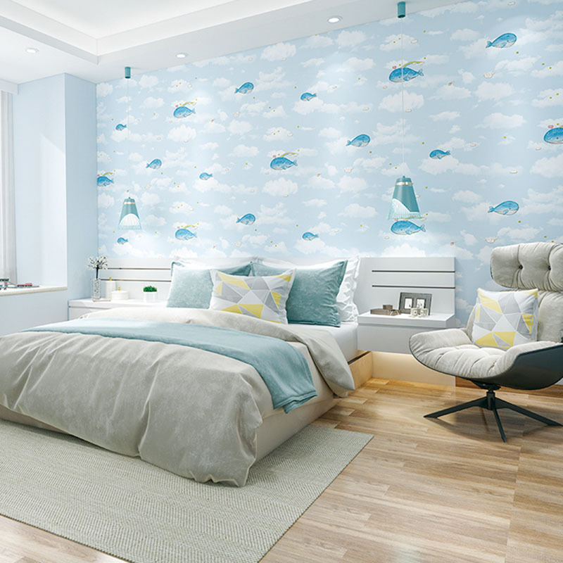 3D Coining CHILDREN'S Room Environmentally Friendly Non-woven Wallpaper CHILDREN'S Clothing Store Boys And Girls Bedroom Wall-to