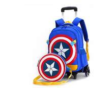 Primary School Trolley Bags Captain America Backpack Wheeled Children School Bag with Wheels ;Schoolbags with trolley(China)
