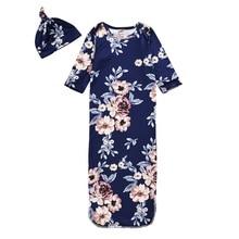 Одежда для сна для новорожденных; халаты+ шапочка с цветочным принтом; теплая мягкая удобная Пижама для младенцев; костюм для малышей
