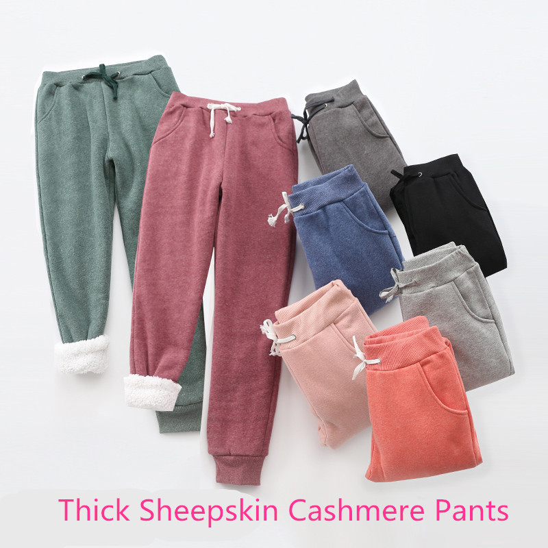 Hot Winter Ladies Pants Thick Sheepskin Cashmere Pants Casual Sweatpants Warm Women Loose Harlan Pants Long Pants Plus Size