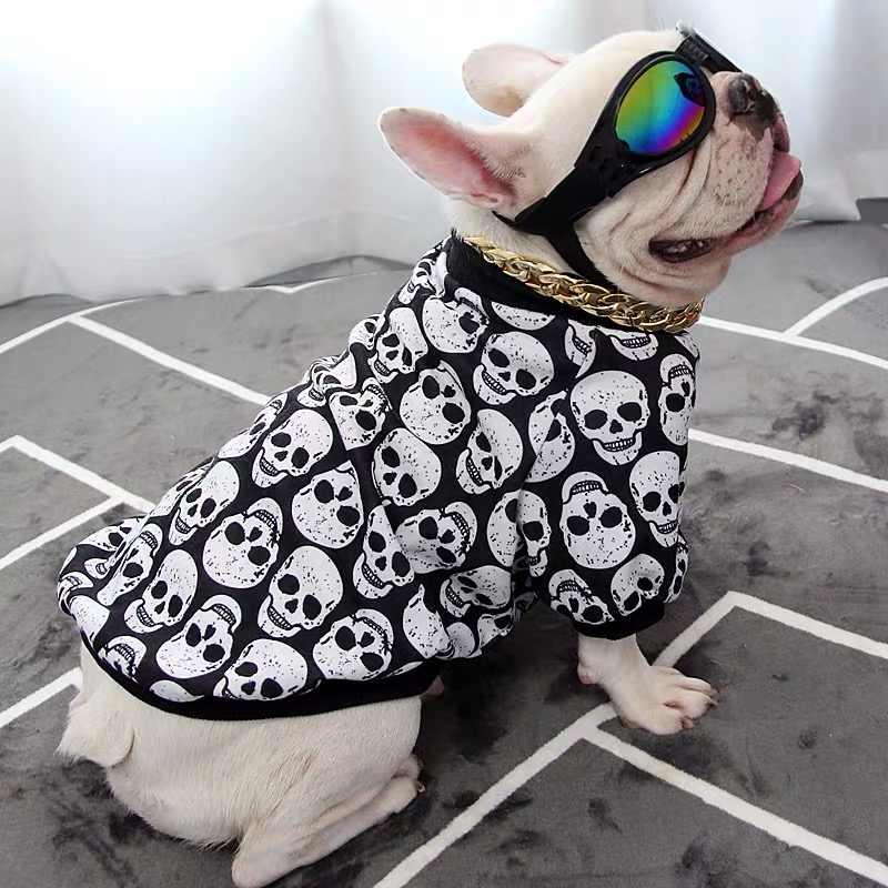 الفرنسية البلدغ تيشيرت صيفي سترة الجمجمة طباعة ملابس الحيوانات الأليفة الكلاب المتوسطة الصغيرة الملابس الكلب الشتاء معطف دافئ الصلصال زي KKC01