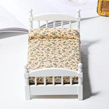 1/12 Cute Miniature Wood Bed Living Room Toy Decor Furniture Model Ornament Kids Educational Toys for Children Gifts