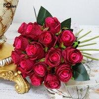 18 голов искусственных роз букет цветов маленькие шелковые розы свадебный букет DIY домашний офисный стол мягкий Декор шелковые цветы