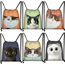 3D Lovely Cat Head Painting Drawstring Bag Cat Cartoon Printing Backpack Girl Shopping Bags Multi-function Portable Shoes Bag