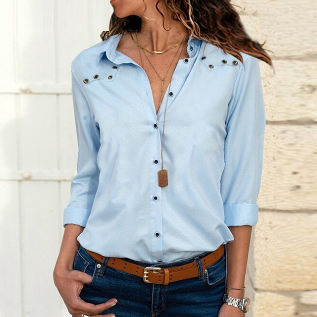 Women's Blouse turn-down Large size autumn winter solid long-sleeved button corns women's chiffon shirt casual ladies blouses 1