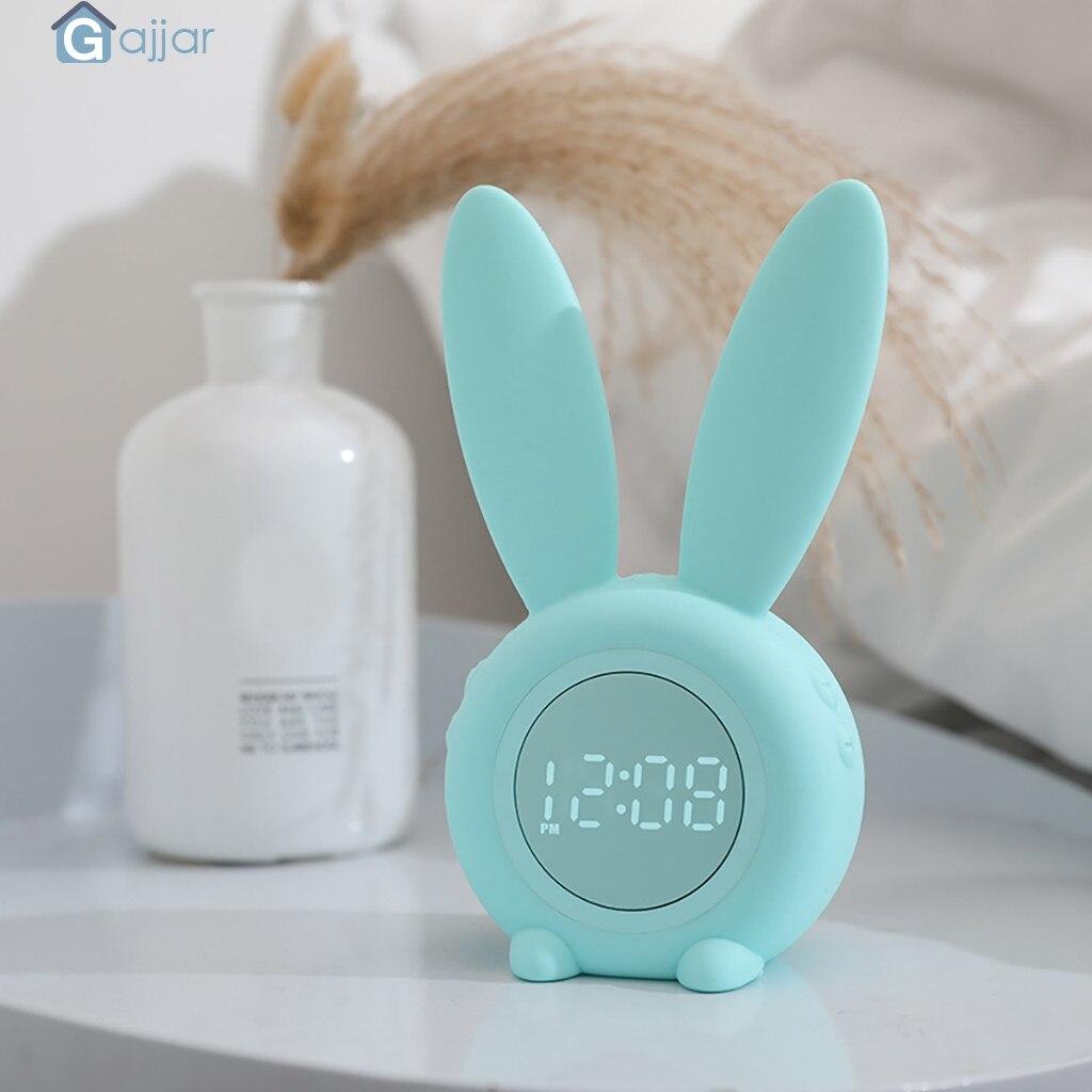 2019 HOT Cute Rabbit Alarm Clock Creative Led Digital Snooze Cartoon Electronic Clock Container Cooler   19MAY30