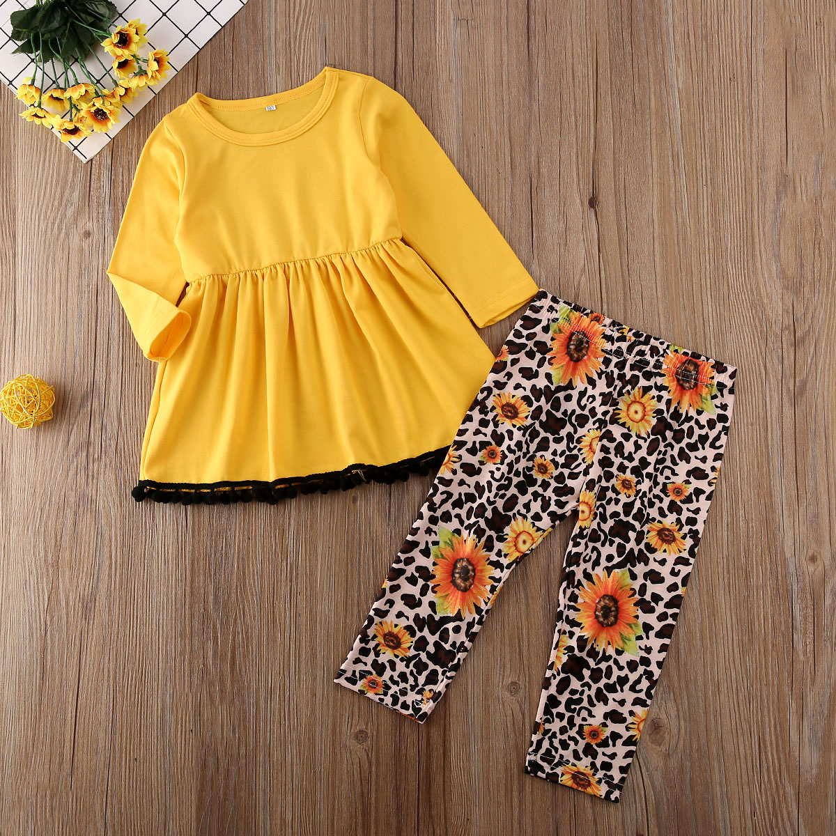 Toddler Baby Girls Leopard Long Sleeve T-Shirt Tops Yellow Mini Pencil Skirts Outfit Fall Winter Clothes Set