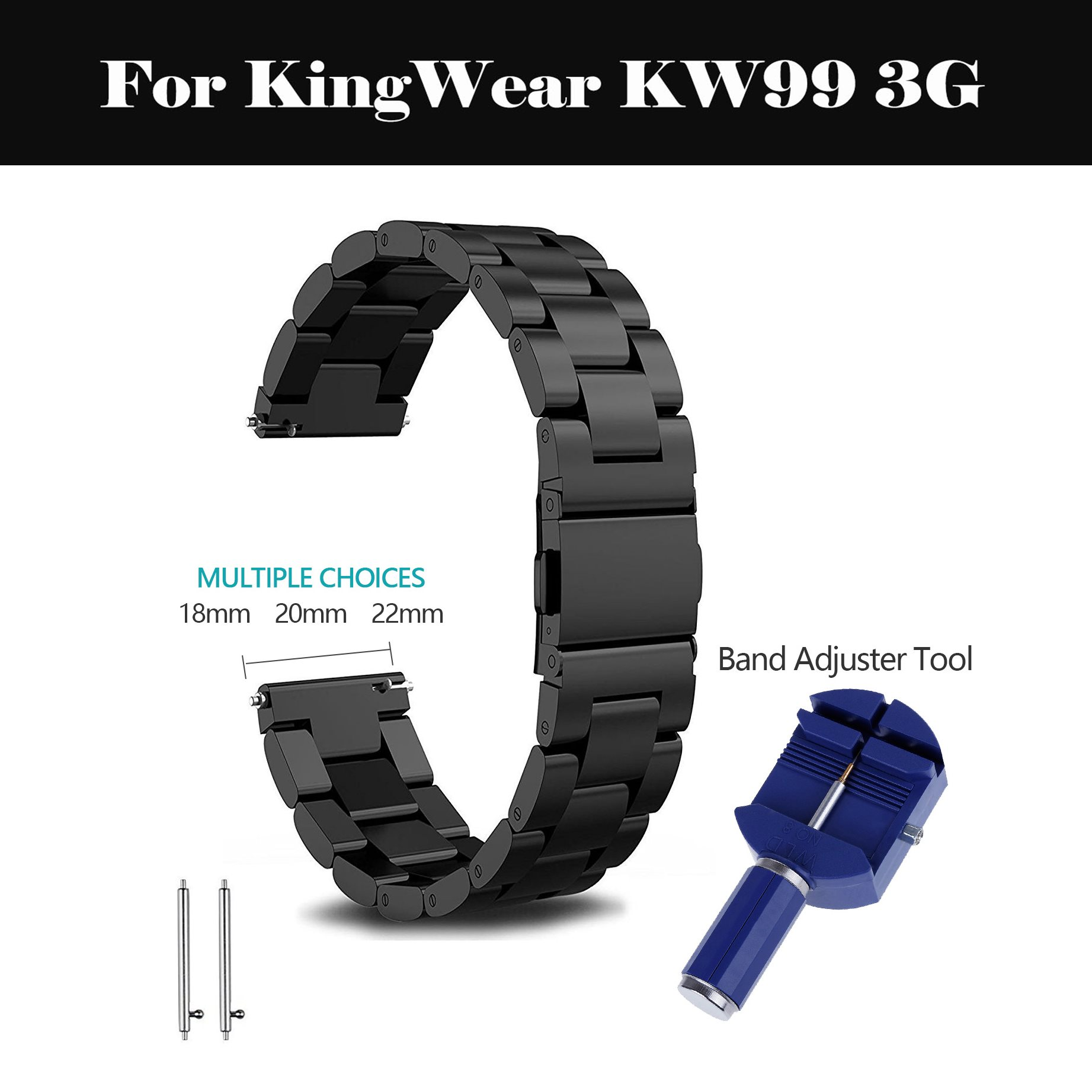 18mm 20mm 22mm Stainless Steel Watch Band <font><b>Strap</b></font> smart watch Link bracelet black For KingWear <font><b>KW99</b></font> 3G image