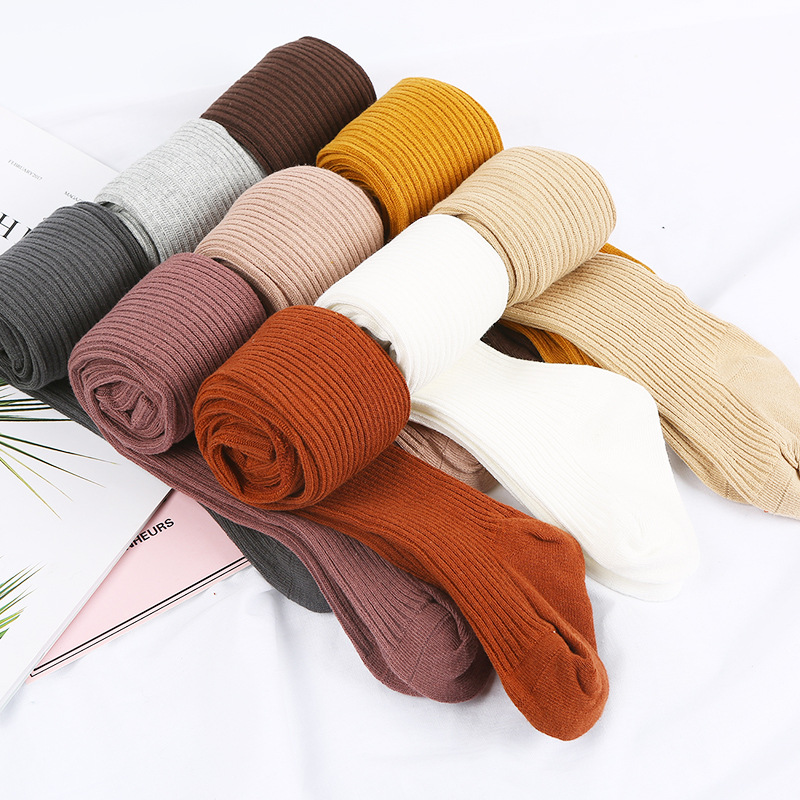 0-4Years 9 Color Winter Autumn Baby Girl Tights Baby Girl Ribbed Stockings Cotton Warm Pantyhose Solid Candy Color Tight