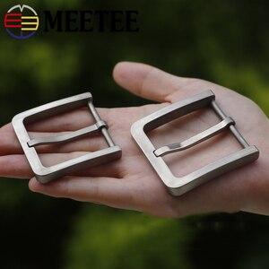 Image 1 - Meetee Solid Pure Titanium Pin Gespen Onschadelijk Voor De Huid Voor Mannen Jeans Kleding Accessoires Lederen Craft Breedte 37/39Mm
