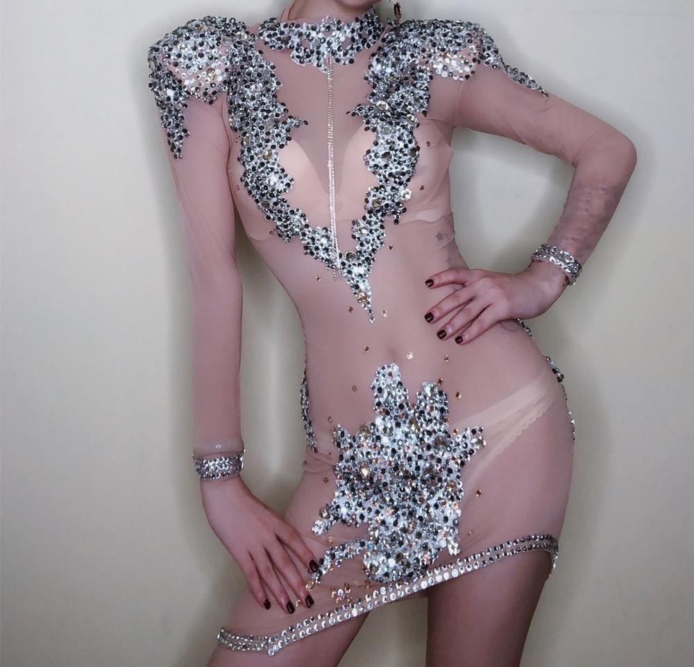 Flashing Silver Rhinestones Sexy Dress Women's Birthday See Through Mesh DRESS Stage Evening Singer Dancer Perspective Outfit