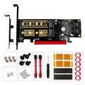 QINDIAN Add On Card M.2 NVME NGFF mSATA Riser PCIE naar M2 Adapter met Goud M.2 Heatsink SSD Cooling PCI express X4/X8/X16 Raiser
