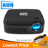 AUN Low price Clearance, Best price, big sale,Limited quantity! 480P/720P/1080P LED MINI projector, Free gift, 3D Home theater