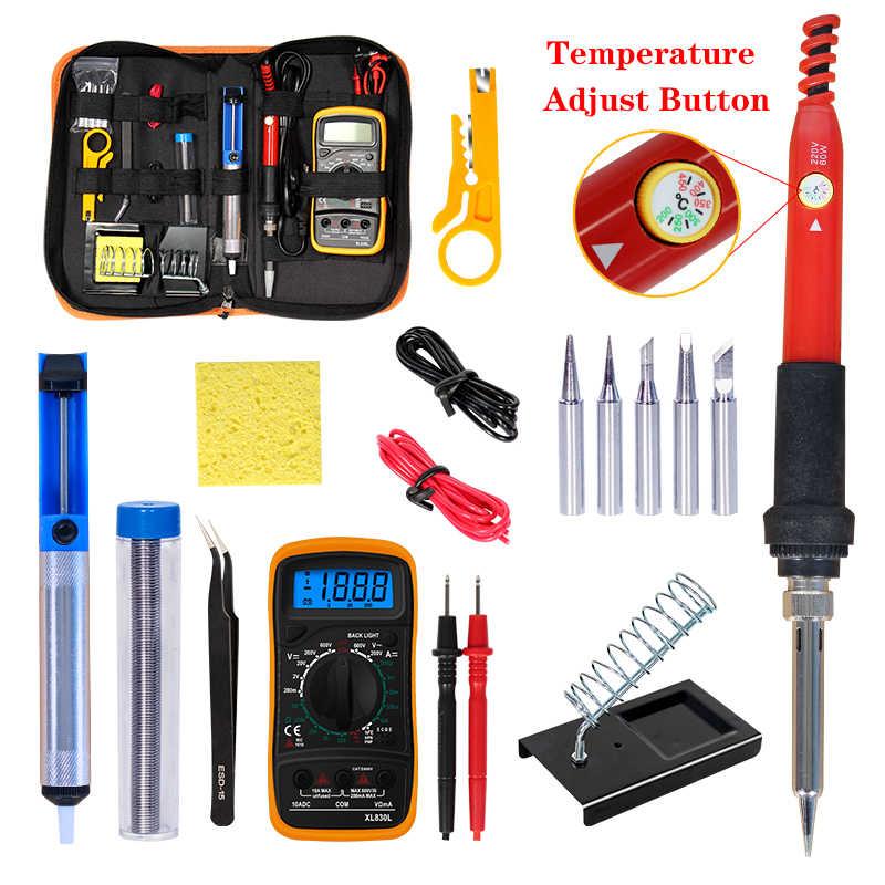 Suhu Yang Dapat Disesuaikan Kit Listrik Solder Besi 220V 110V 60W Welding Solder Ulang Stasiun Panas Pengelasan Perbaikan Alat kit