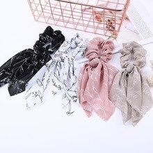 Корейский стиль, богемные резинки с принтом, шифоновая лента, женский эластичный галстук для волос, мягкий винтажный тюрбан, бандаж, женские аксессуары для волос