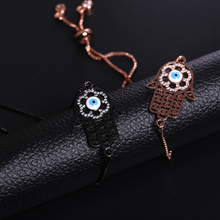 NJ Turkish Zircon Evil Eye Design Women Charm Bracelets Cool Black Gold Adjustable Chain Lucky Copper Bracelet New Arrival