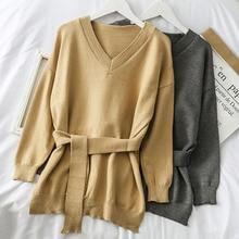 Mooirue Women Sweater With Sashes Front Short Back Long Irregular Pullover Belt V Neck Casual Streetwear Korean Style