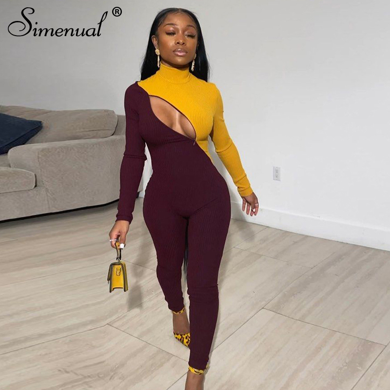 Simenual Patchwork Zipper Fitness Rompers Womens Jumpsuit Casual Workout Sporty Active Wear Fashion Long Sleeve Skinny Jumpsuits