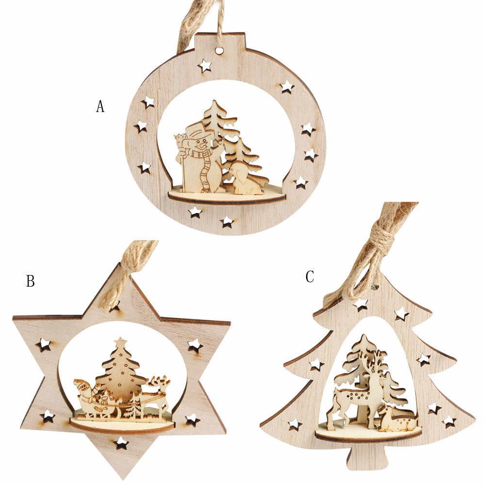 Baru Kepingan Salju Hiasan Kayu Pedesaan Selamat Pohon Natal Gantung Drop Liontin Xmas Dekorasi untuk Rumah # B5