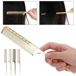 Professional Tail Comb Men Women Salon Rat Tail Hair Comb Barber Aluminum Metal Comb Hairdress Comb Hair Styling Tool