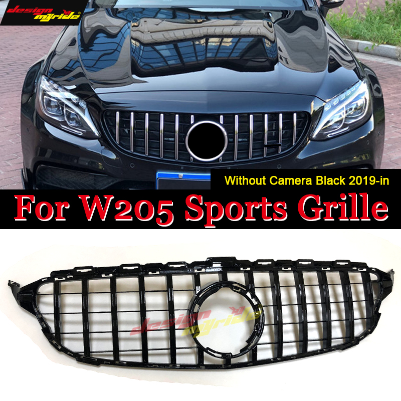 Gt grille W205 Front GTR Grill for <font><b>Mercedes</b></font> C-Class Sport C205 S205 W205 c180 c200 c250 <font><b>c300</b></font> c43 Grills ABS Black Replacement 19 image