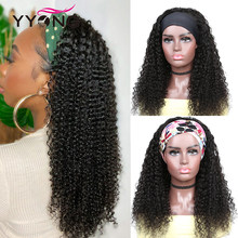 YYong crépus bouclés cheveux humains bandeau perruque brésilien Remy bandeau perruques avec écharpe colorée 100% perruque de cheveux humains pour les femmes