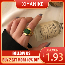 XIYANIKE 925 Sterling Silver Unique Design Big Emerald Gold Rings Retro Female Fashion Exaggeration Gorgeous Charm Jewelry Party