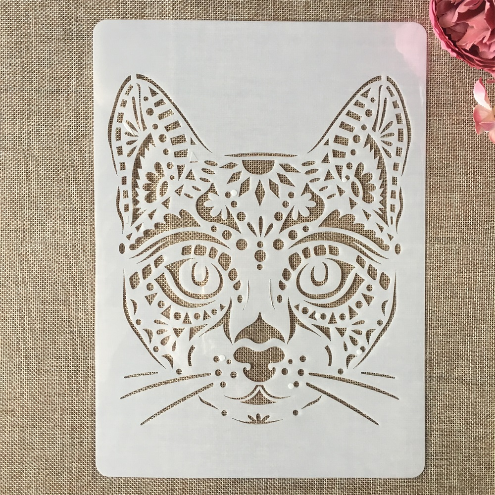A4 29x21cm Hand Draw Cat Animals DIY Layering Stencils Painting Scrapbook Coloring Embossing Album Decorative Template