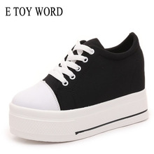 E TOY WORD Platform Women Shoes black white Canvas womens sneakers Fashion women Hidden Heels 10CM female casual shoes