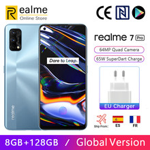 Versão global realme 7 pro 8gb 128gb smartphon snapdragon 720g 6.4 amamamoled dispaly 64mp quad câmeras 65w superdart carga nfc