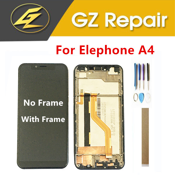 With / No Frame 6.18 Inch For Elephone A4 LCD Display With Touch Screen Glass Sensor Digitizer Black Color With Tools Tape