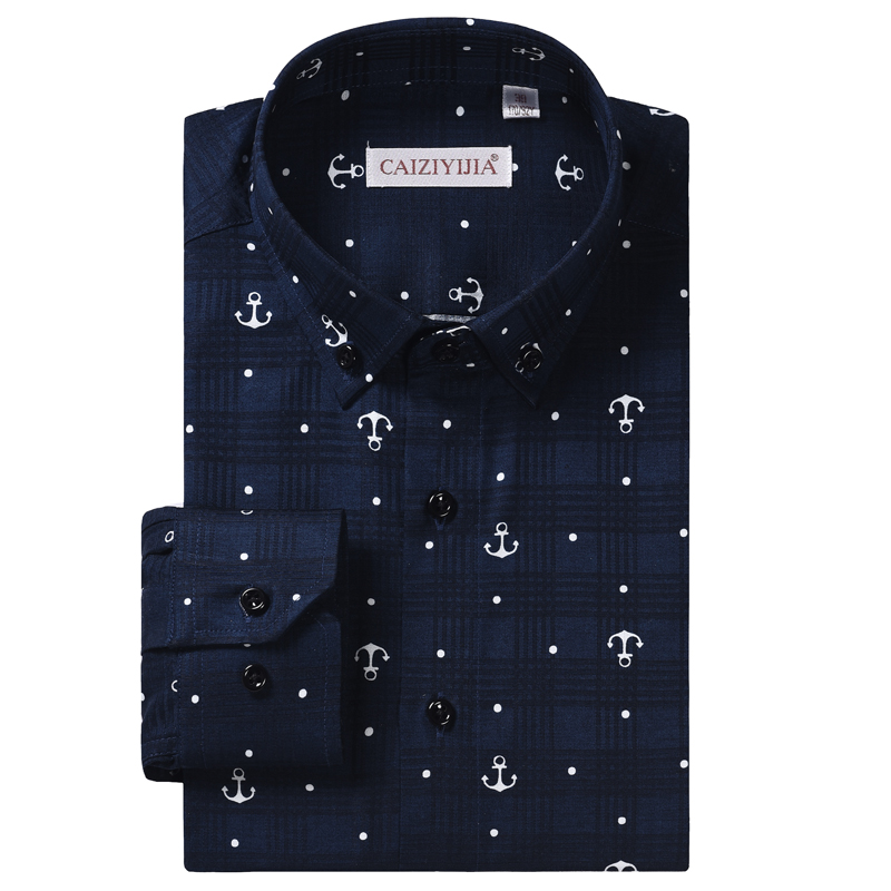 Men's Stylish Anchor Nautical Print Long Sleeve Shirt Comfortable Cotton Casual Standard-fit Check Pattern Button Down Shirts