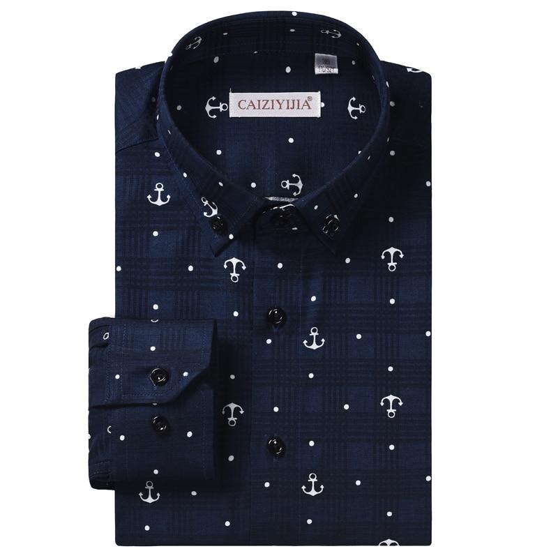 Men's Stylish Anchor Nautical Print Long Sleeve Shirt Comfortable Cotton Casual Standard-fit Check Pattern Button Down Shirts